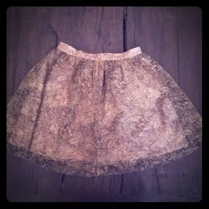 Jack. Black & Nude Floral Tulle Skirt Lined